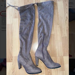 High Knee Gray Boots